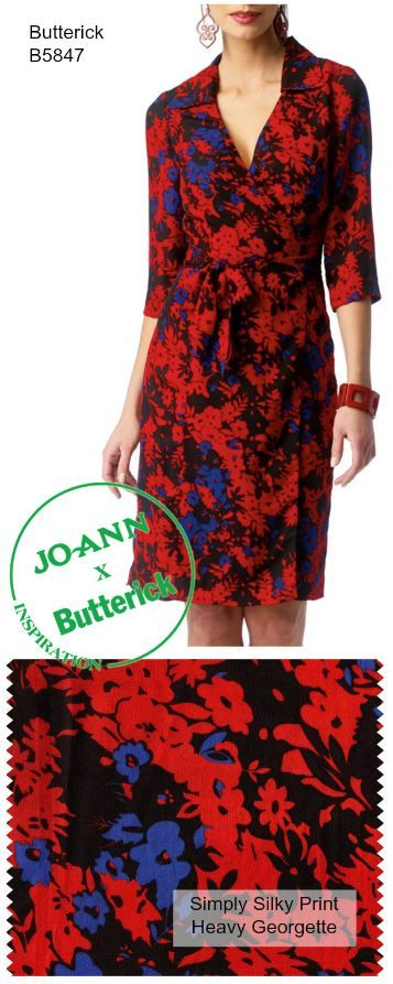 DIY Wrap Dress via @mccallpatternco | Spring Dress Pattern and Floral Fabric from @joannstores
