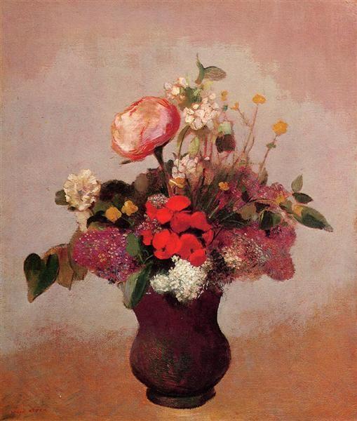 Flowers in a Brown Vase, 1904 by Odilon Redon. Realism. flower painting. Private Collection
