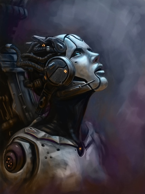 Solice Rising by Bob Garvin, cyberpunk, robot girl, cyborg, futuristic, android…