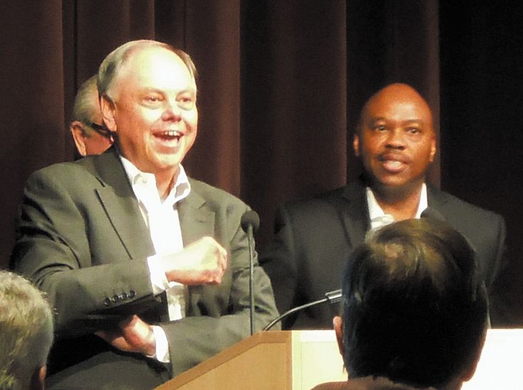 Colorado Department of Transportation executive director Don Hunt, left, and RTD general manager Phil Washington respond to questions during an Oct. 2 South Metro EDC transit presentation at the Lone Tree Arts Center.