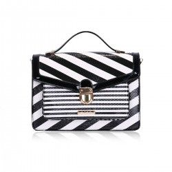 3D Deception Stripe Grab Bag in Black and White By LYDC