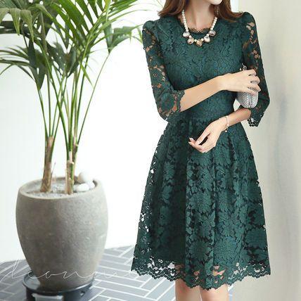 ドレス-ミニ・ミディアム 総レースフラワー七分袖ミドルAライドレス「全2色」(5)