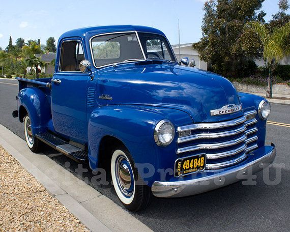 Vintage Chevrolet Color Photo 1951 Chevy Pickup Truck 3100
