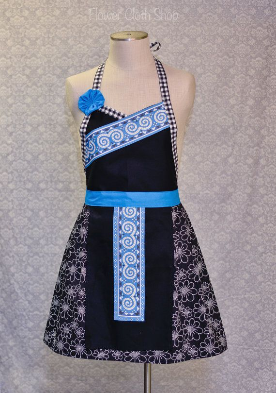 Hmong apron  https://www.etsy.com/listing/177529699/swirl-apron-blue-white-with-pleated
