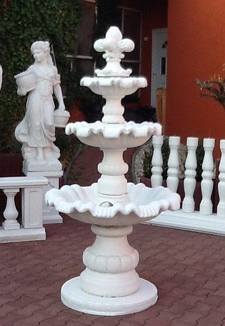 SR177-B Kaskadenbrunnen mit Steinblume und Sockelplatte als Kaskaden Gartenbrunnen mit 3 Wasserschalen 180cm 335kg