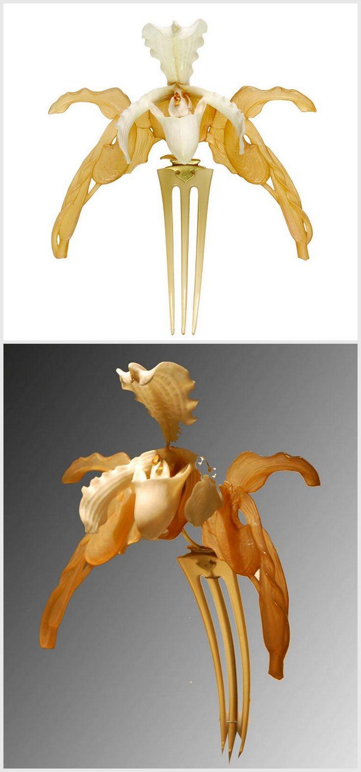 "René Lalique - ""Orchids"" diadem 1903-1904. Horn, ivory, gold and citrine. | © Museu Calouste Gulbenkian"
