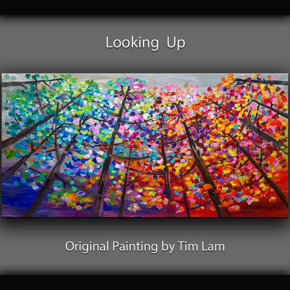 Original abstract Tree art oil painting Looking Up forest on gallery wrap canvas Ready to hang by tim Lam 48x24
