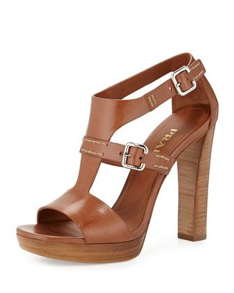 Leather T-Strap Sandal, Brandy by Prada at Neiman Marcus.