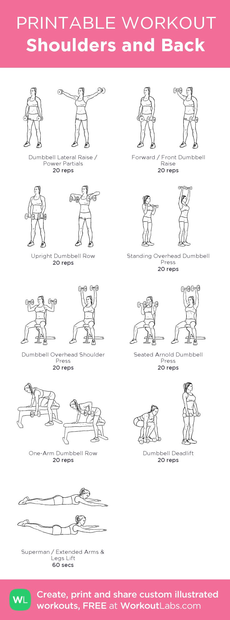 Shoulders and Back: my visual workout created at WorkoutLabs.com • Click through to customize and download as a FREE PDF! #customworkout