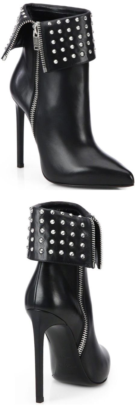 #Saint Laurent Paris Fold-Over Studded Leather #Ankle Boots