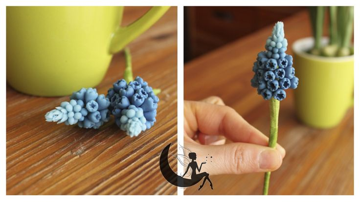 Cold porcelain muscari flowers making of