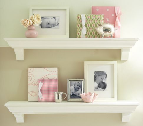 Shelves are a great choice for displaying photos, books and keepsakes.
