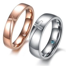 Cross Engraved Rings Matching Couples Promise Rings Engraving on Yoyoon.com. Make every day valentine's day!