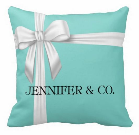 Personalized Tiffany  amp  Co Inspired Tiffany Blue Throw Pillow