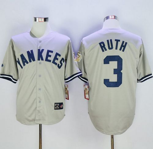 reputable site afdfd f8195 Mitchell And Ness 75TH Yankees #3 Babe Ruth Grey Throwback ...