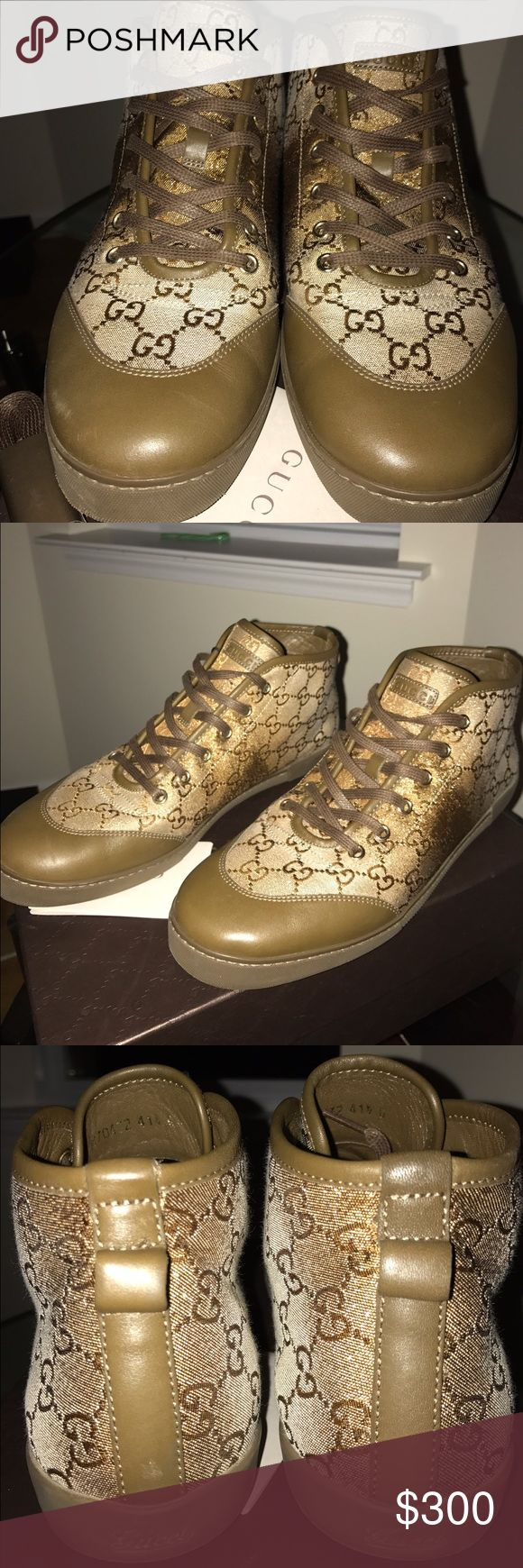 Gucci Lurex Beige Monogram Sneakers 41.5 Step out in comfort and style in these neutral but shimmery lurex Gucci sneakers. Monogram GG with leather tow trim. Gucci imprinted on tongue and back rubber sole Gucci Shoes Sneakers