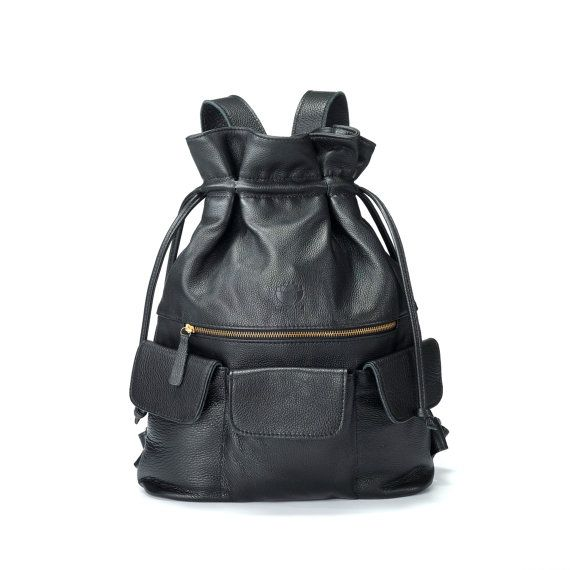 Black Leather Backpack bag / leather bag / Black by NymphaeaBags