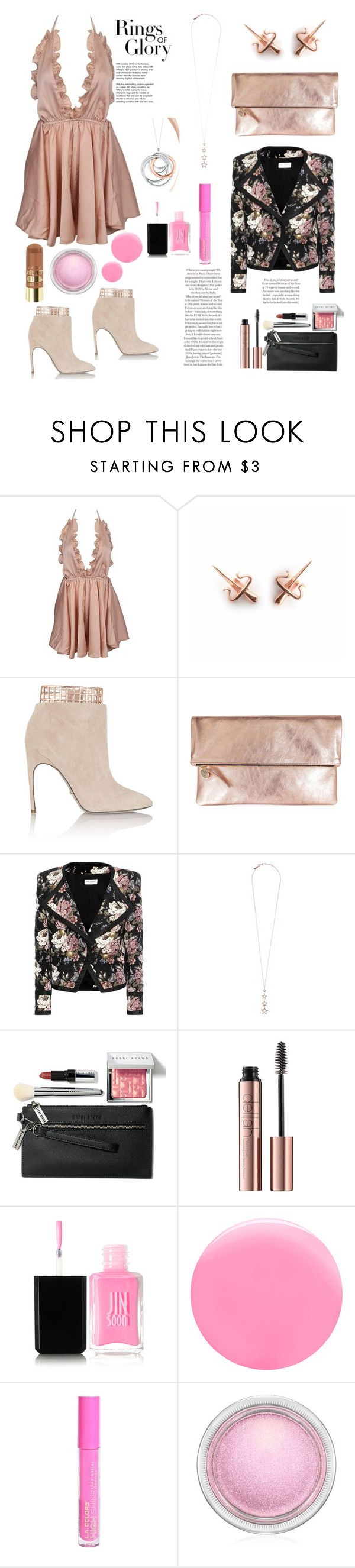 """""""Rings of Glory"""" by felicitysparks ❤ liked on Polyvore featuring LeiVanKash, Sergio Rossi, Clare V., Yves Saint Laurent, Tada & Toy, Bobbi Brown Cosmetics, Tiffany & Co., JINsoon, L.A. Colors and MAC Cosmetics"""