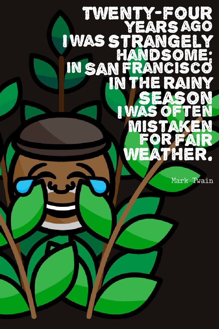 Twenty-four years ago I was strangely handsome; in San Francisco in the rainy season I was often mistaken for fair weather. Mark Twain Quote San Francisco California Bushman Emoji Icon Keyboard App by San Franciscoji sf emoji #SANFRANCISCOJI #sfemoji #sflove #marktwain #emojikeyboard #fbushman