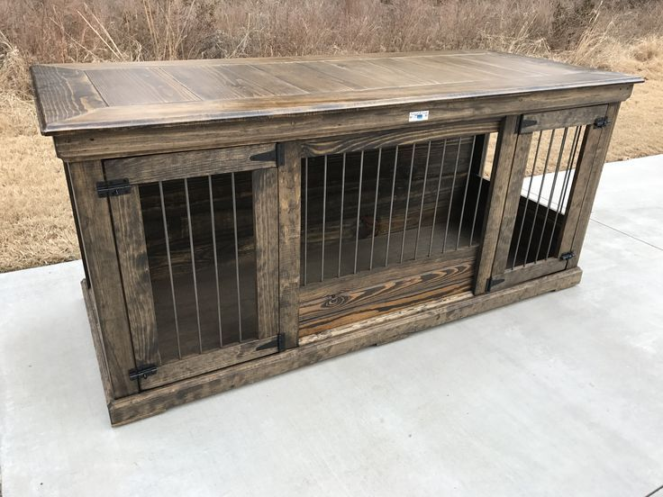 Rustic Classic Piece To Replace Your Dogs Wire Crate Perfect As An Entry Table Or Entertainment Diy Dog Kennel Luxury Dog Kennels Dog Crate Table