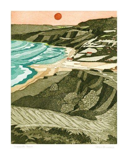 Charmouth Beach, etching, John Brunsdon