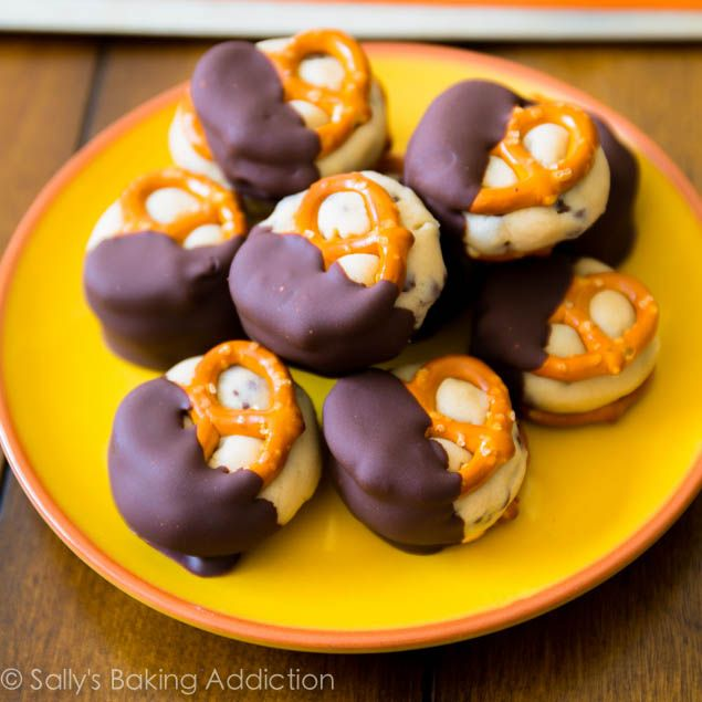 ... cookie dough stuffed between two salty pretzels. They are no-bake. And