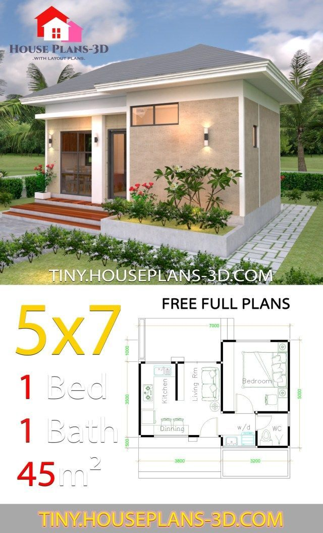 Small House Design Plans 5x7 With One Bedroom Hip Roof Tiny House Plans Modern Small House Design Small House Design Plans House Front Design