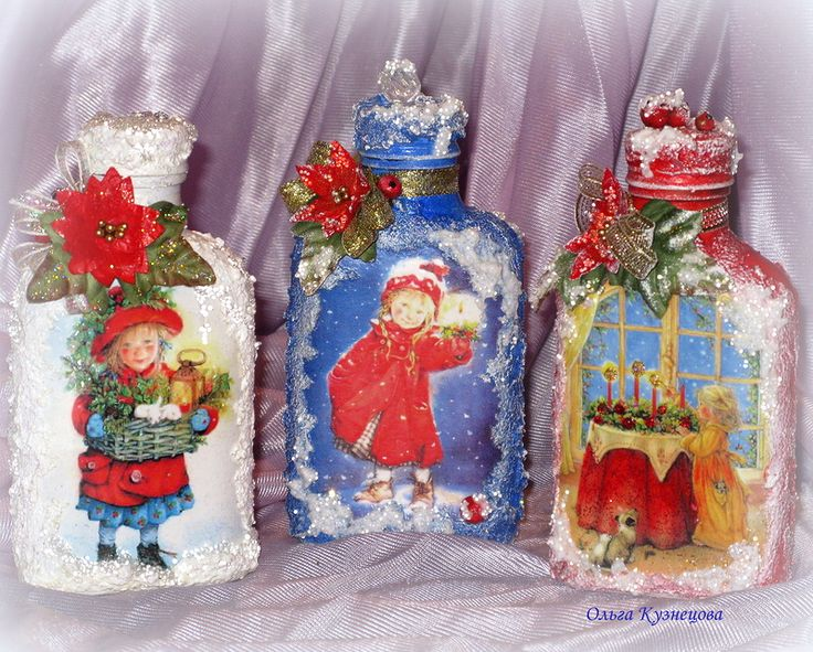 Новогодний декор, декупаж бутылок, автор Chapa96 на Яндекс.Фотках, 2012 год