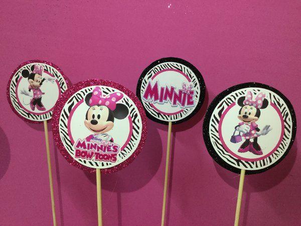 Minnie Mouse zebra centerpiece Stick, birthday minnie pink zebra , birthday centerpiece, minnie pink and zebra birthday   Happy Party