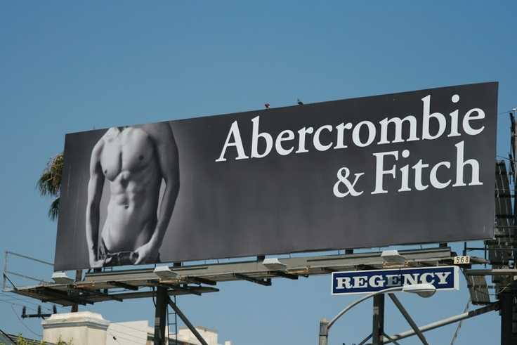 Abercrombie & Fitch hot male model torso billboard