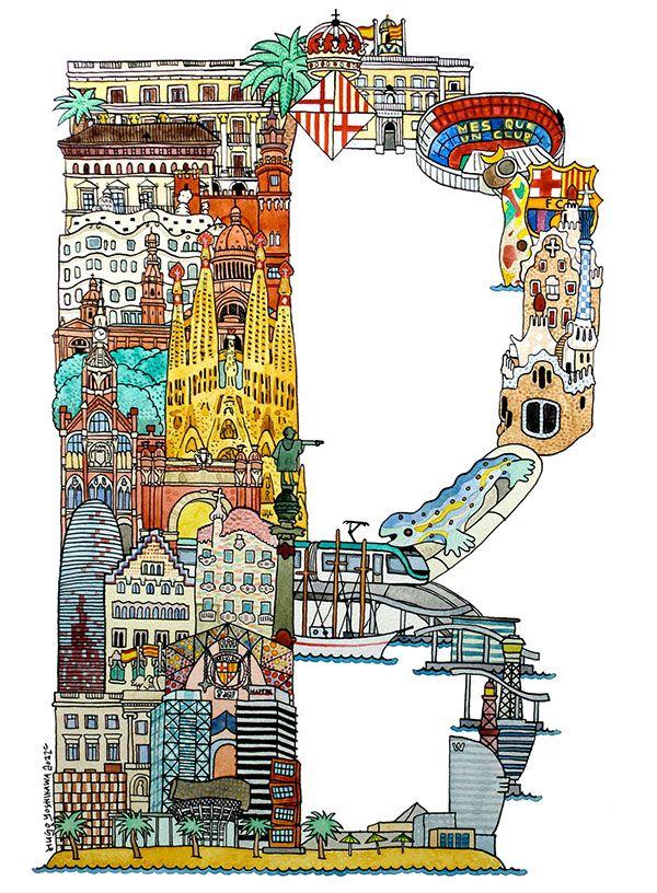 Barcelona  - ABC illustration series of European cities by Japanese illustrator Hugo Yoshikawa http://www.hugoyoshikawa.com/City-ABC