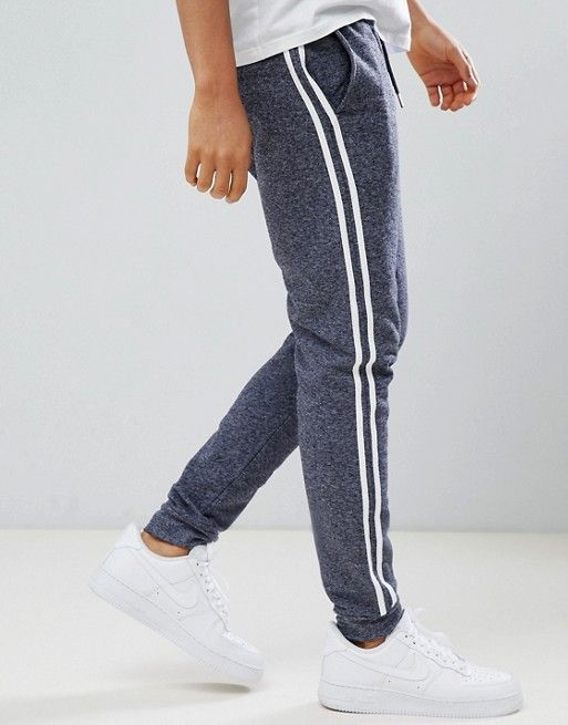 7c5fc415 DESIGN skinny sweatpants with side stripe taping in gray interest ...