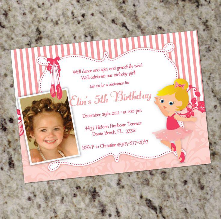 first birthday invitation for my son%0A Ballerina Party Invitation