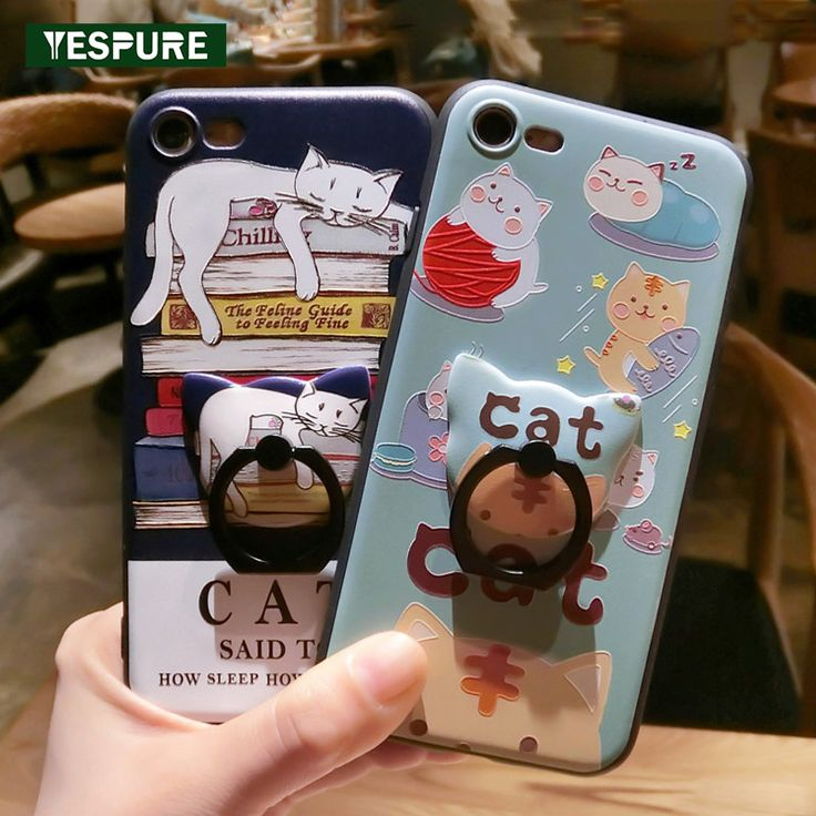 >> Click to Buy << YESPURE Fancy Fashion Cheap Cell Phone Covers with Finger Ring 3d Cartoon Cat Silicone cameo Phone Case for Iphone 6 6s 7Plus #Affiliate