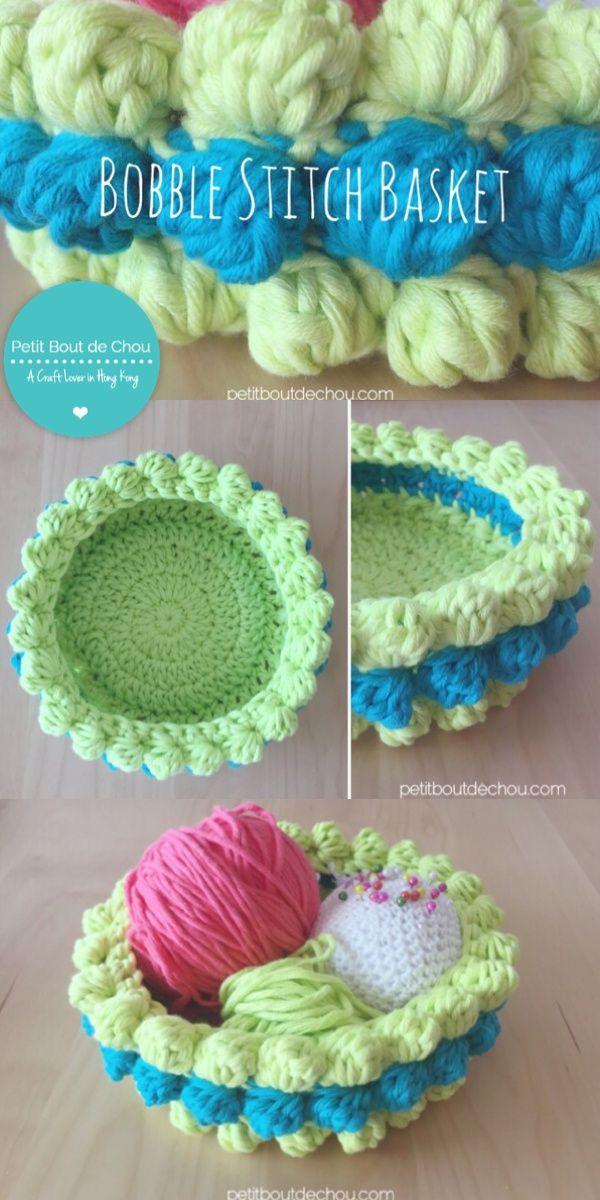 Bobble crochet stitch basket DIY