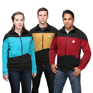Star Trek TNG Unisex Track Jacket - Exclusive | ThinkGeek--screw getting your bridesmaids bathrobes they'll never wear again for when they're getting their hair done, get them sweet Star Trek hoodies.