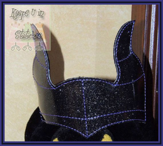 Sleeping Beauty MALEFICENT Inspired VILLAIN Evil Witch Dragon Child CROWN Headband Black & Purple Horns Smooth Glitter Vinyl Sparkly Tiara