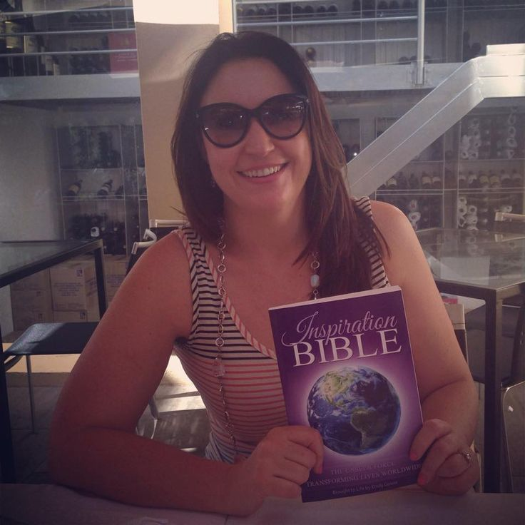 Louise, one of the contributors from the Inspiration Bible with her copy of the book