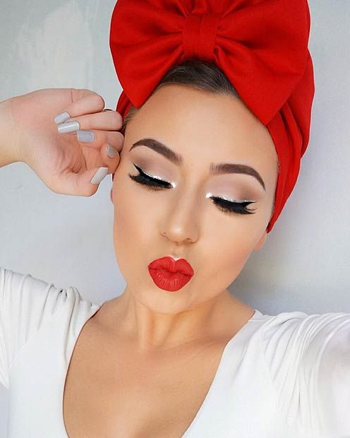 Silver Glitter Liner + Red Lips