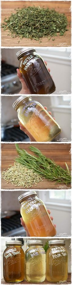 3 Hair Tonics for Strong, Healthy and Shiny Hair.  The actual recipes are here http://everydayroots.com/homemade-hair-treatments