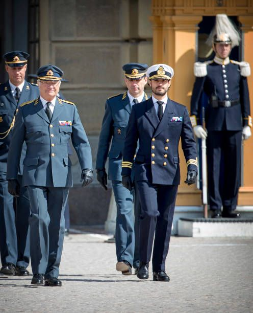 King Carl XVI Gustaf of Sweden and Prince Carl Philip attend the birthday celebrations of the King at the Royal Palace on April 30 2017 in Stockholm...