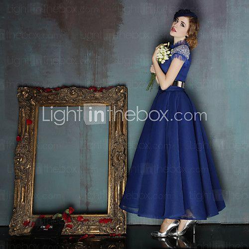 Vestido De Baile Gola Alta Longuette Elastâno com Faixa / Fita / Lantejoulas de 2016 por R$506.97