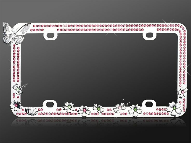 Rhinestone License Plate Frame Butterfly Pink Vroom Vroom License Plate Frames Rhinestone