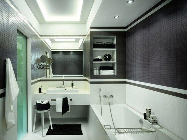 carrelage salle de bains beau contraste en noir et blanc