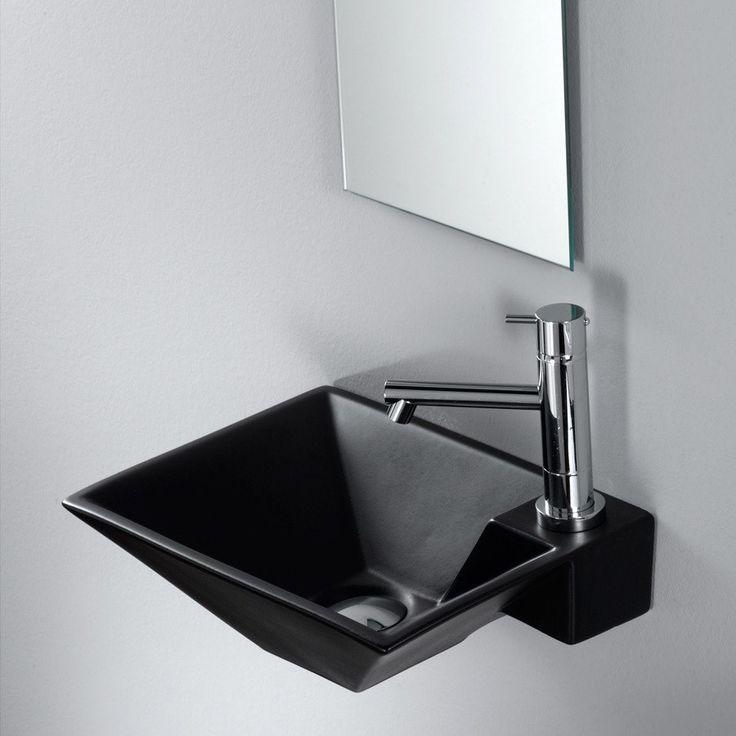 Lille sort håndvask til montering på væg