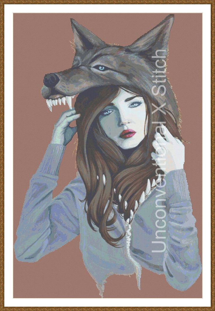 Woman in wolf skin headress cross stitch pattern - Impostor - Licensed Brianna Reagan by UnconventionalX on Etsy