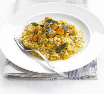 Roasted Butter Nut Squash Risotto... also see the recipe on http://www.epicurious.com/recipes/food/views/Roasted-Butternut-Squash-Risotto-105725