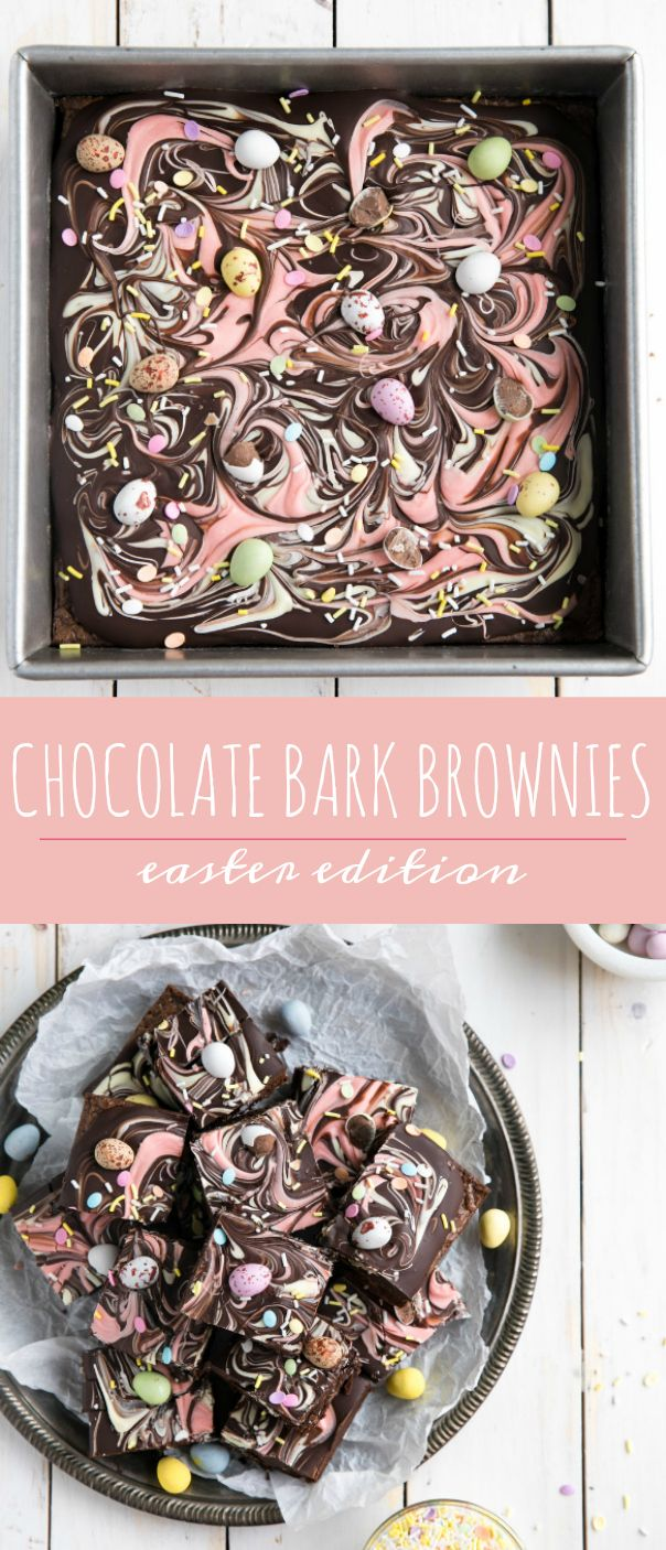 Chocolate Bark Easter Brownies via @theforkedspoon #chocolate #brownies #chocolatebark #easter #dessert #theforkedspoon via @theforkedspoon