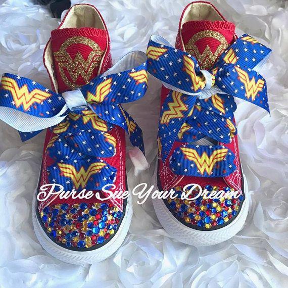 Custom Wonder Woman  Themed Converse Shoes  by PurseSueYourDream   wonder woman birthday, wonder woman, swarovski converse, swarovski shoes, superhero birthday, superhero party, wonder woman costume, costume party, wonder woman party, wonder woman shoes, superhero shoes, superhero costume, superhero converse