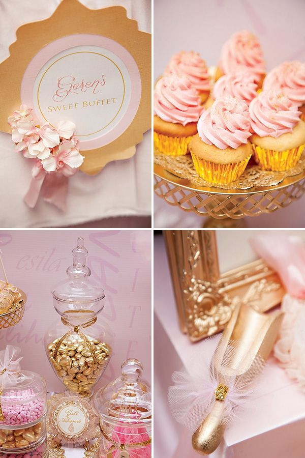 Pink and gold table decorations. The perfect girly colour with a touch of elegance #kids #party #birthday